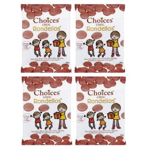 4 x Choc Chocolate Rondellos Buttons - Choices Dairy Free Milk Chocolate Alternative CELTIC 25g